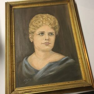 vintage midcentury original oil lady portrait art